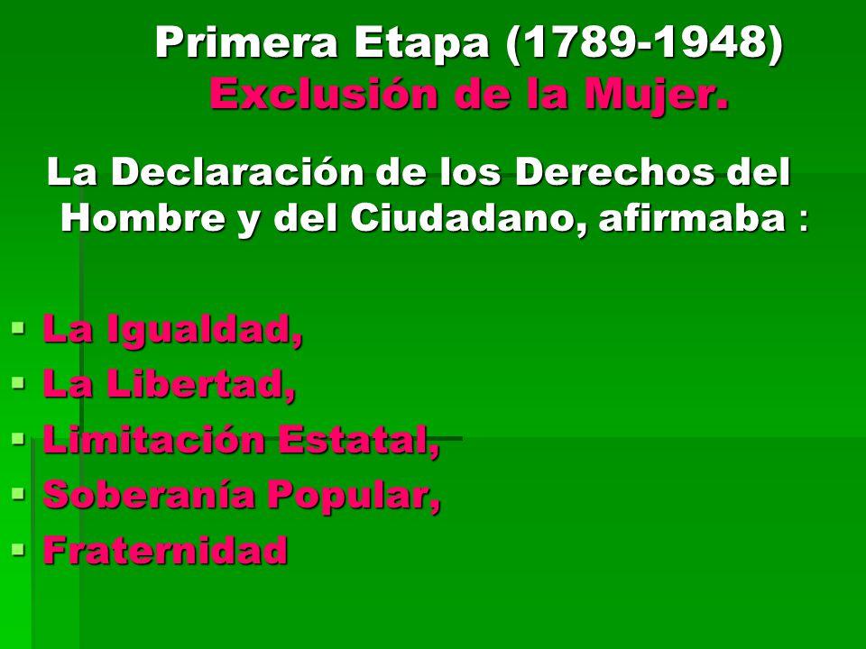 Primera Etapa (1789-1948) Exclusión de la Mujer.