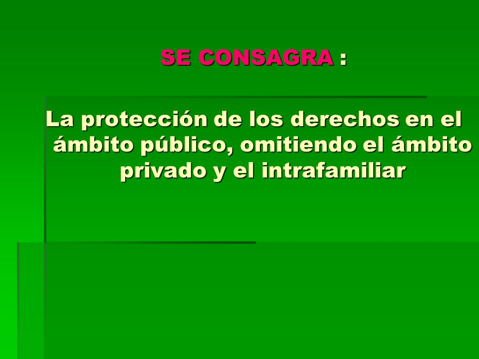 SE CONSAGRA : La protección de los derechos en el ámbito público, omitiendo el ámbito privado y el intrafamiliar.
