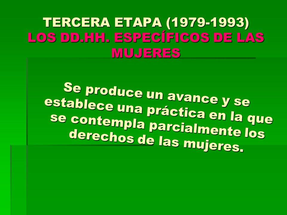 TERCERA ETAPA (1979-1993) LOS DD.HH. ESPECÍFICOS DE LAS MUJERES