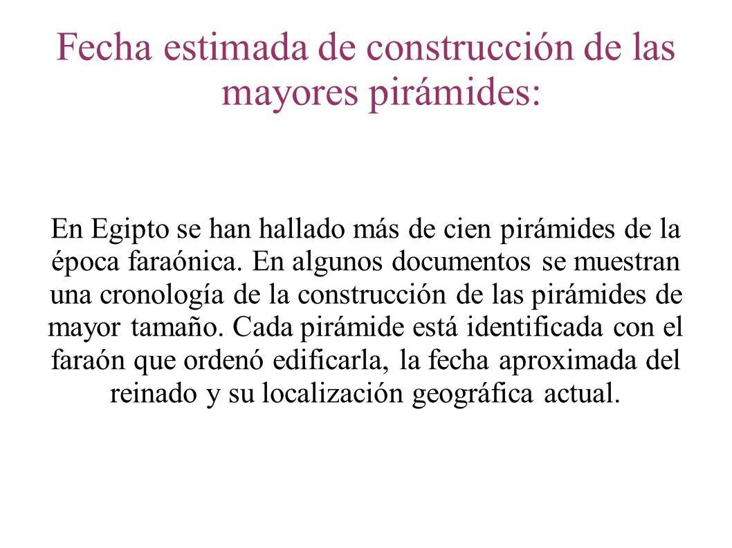 Fecha estimada de construcción de las mayores pirámides: