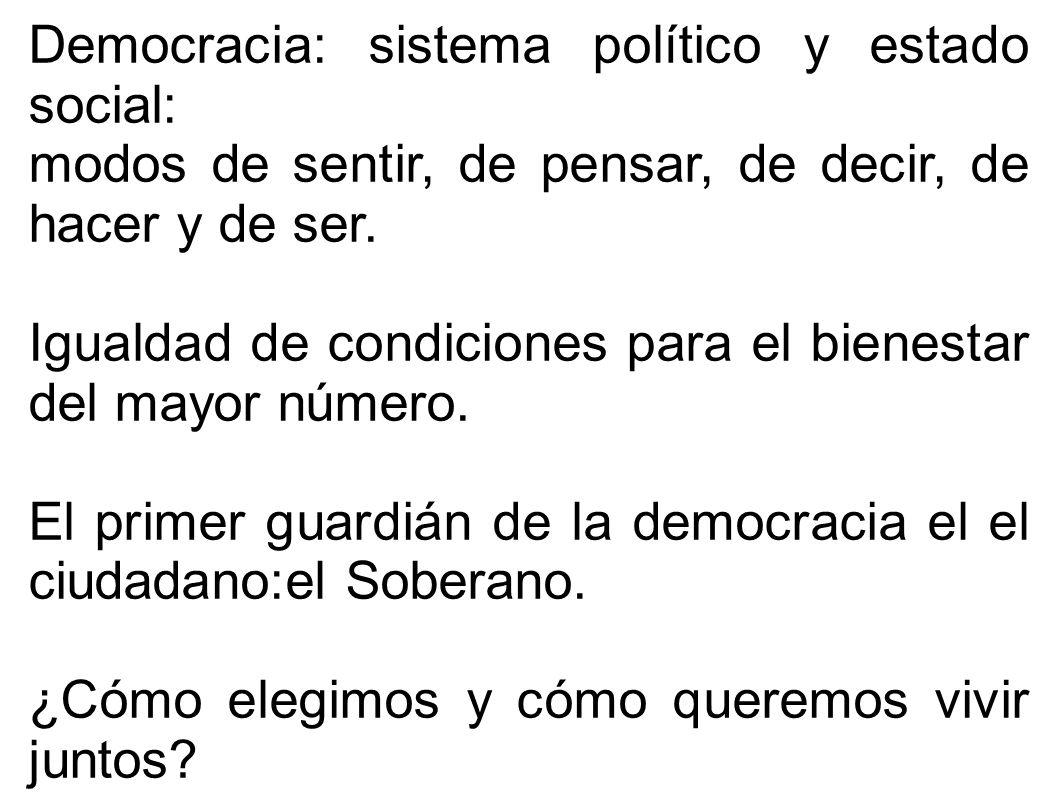 Democracia: sistema político y estado social: