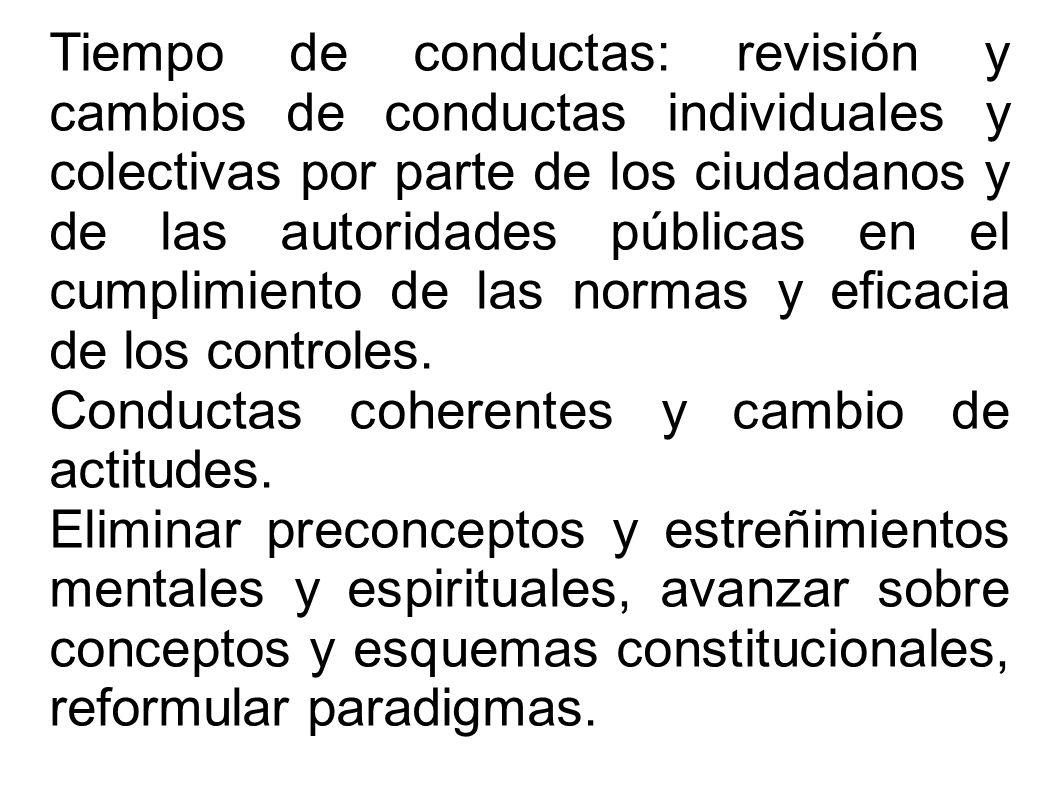 Tiempo de conductas: revisión y cambios de conductas individuales y colectivas por parte de los ciudadanos y de las autoridades públicas en el cumplimiento de las normas y eficacia de los controles.