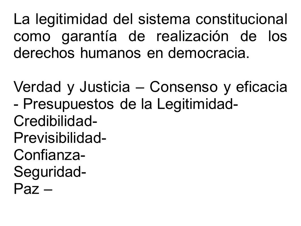 La legitimidad del sistema constitucional como garantía de realización de los derechos humanos en democracia.