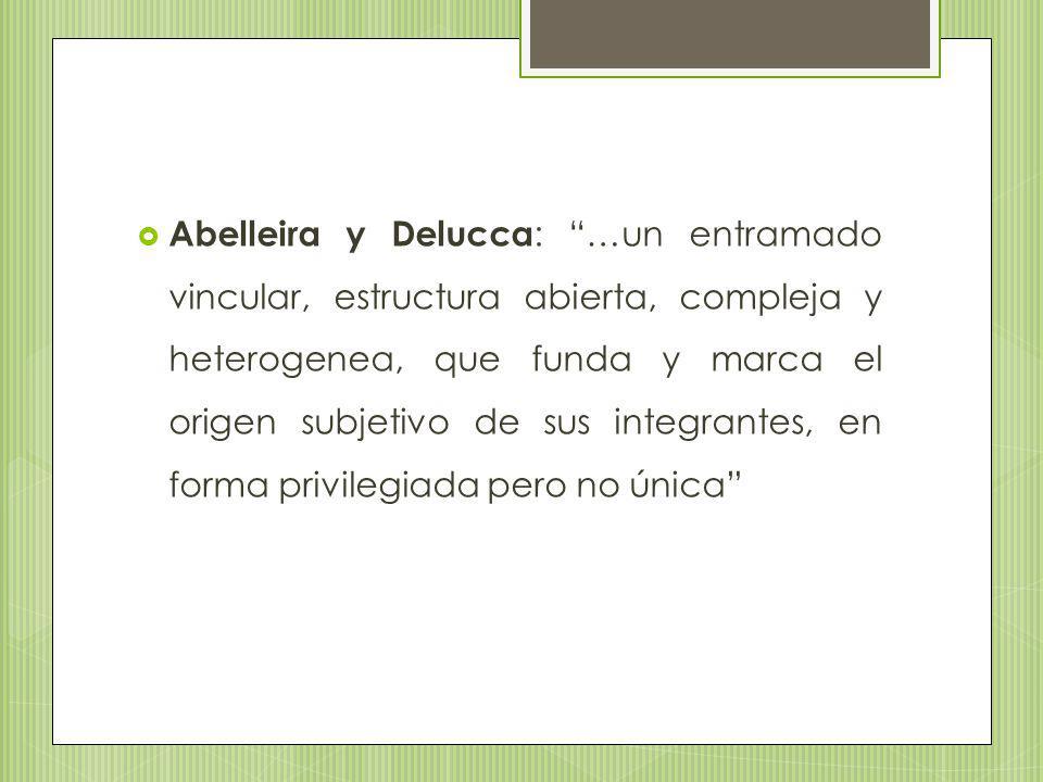 Abelleira y Delucca: …un entramado vincular, estructura abierta, compleja y heterogenea, que funda y marca el origen subjetivo de sus integrantes, en forma privilegiada pero no única