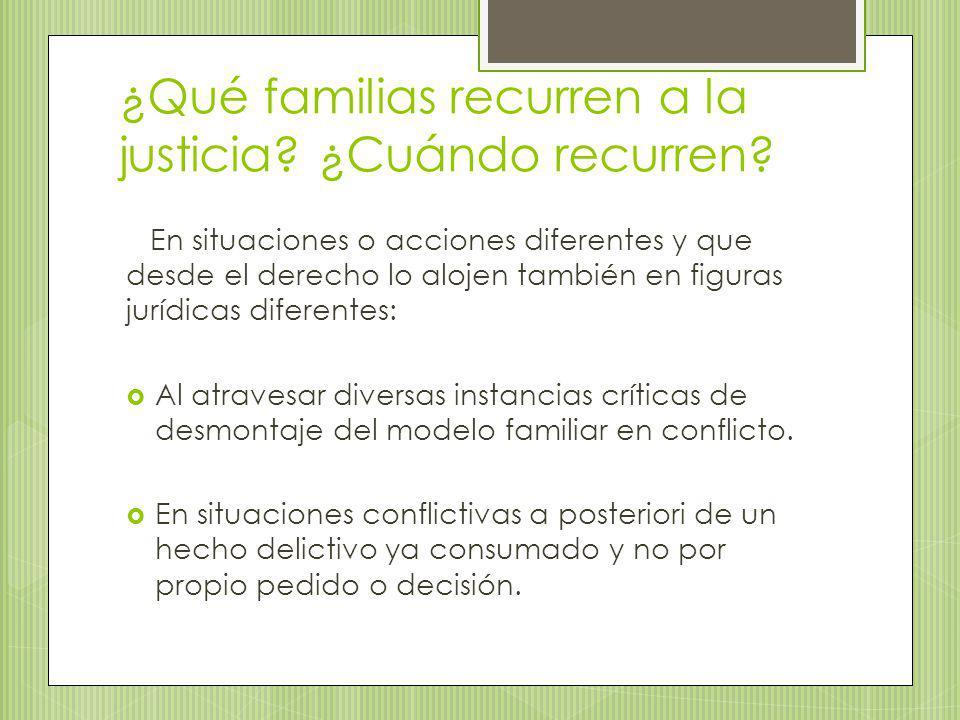 ¿Qué familias recurren a la justicia ¿Cuándo recurren