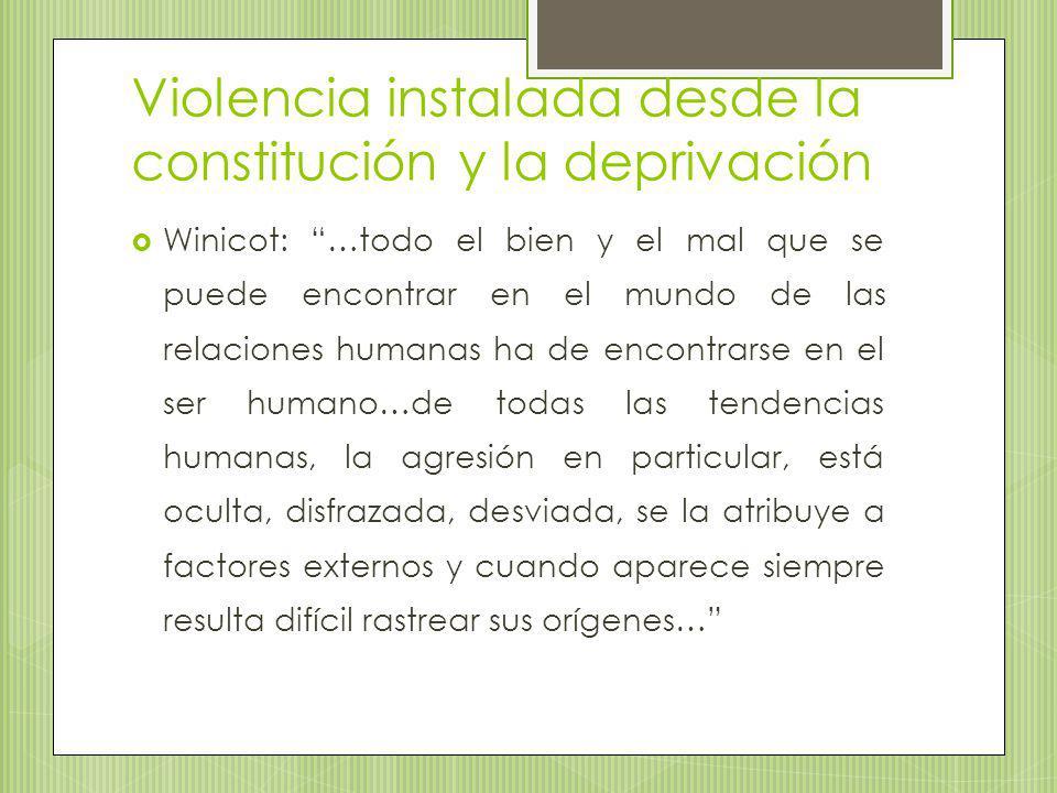 Violencia instalada desde la constitución y la deprivación