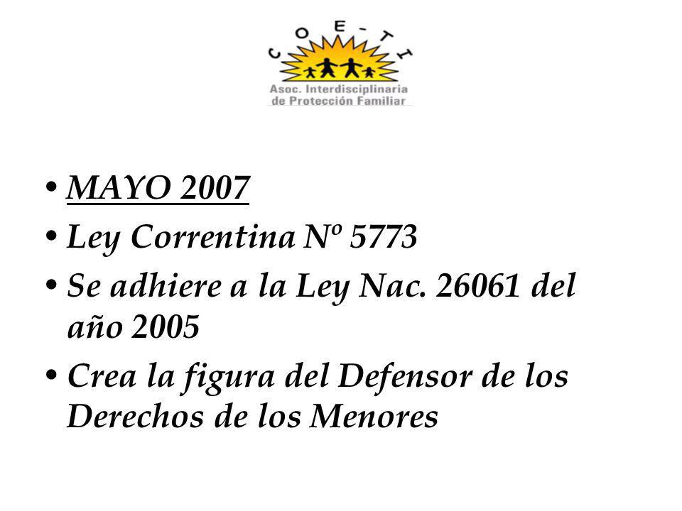 MAYO 2007 Ley Correntina Nº 5773. Se adhiere a la Ley Nac.