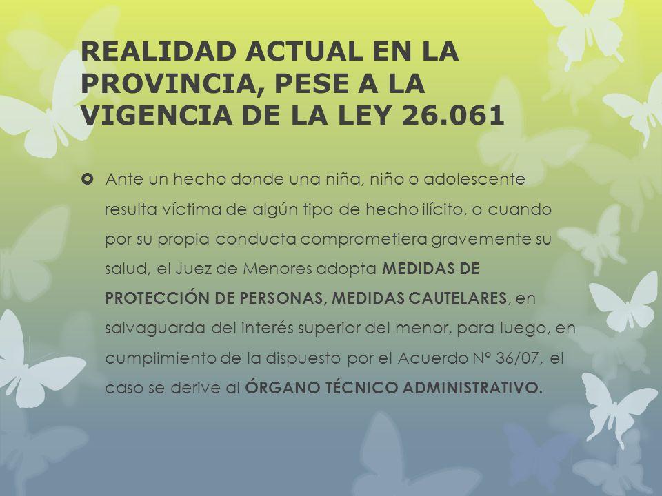 REALIDAD ACTUAL EN LA PROVINCIA, PESE A LA VIGENCIA DE LA LEY 26.061