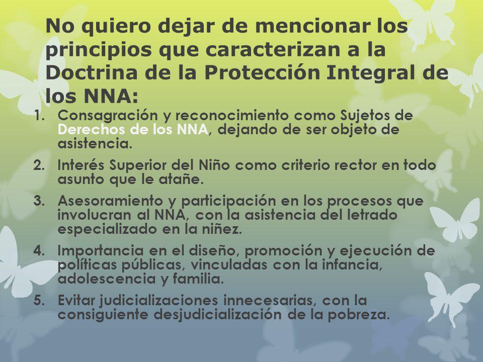 No quiero dejar de mencionar los principios que caracterizan a la Doctrina de la Protección Integral de los NNA: