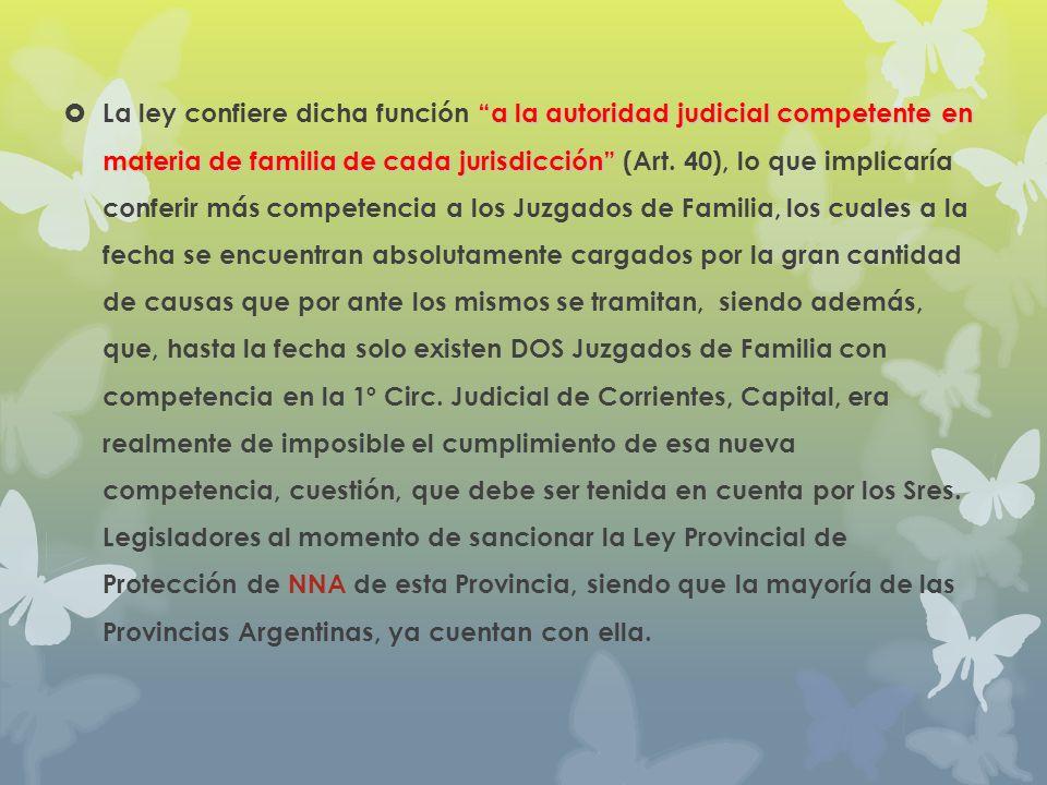 La ley confiere dicha función a la autoridad judicial competente en materia de familia de cada jurisdicción (Art.