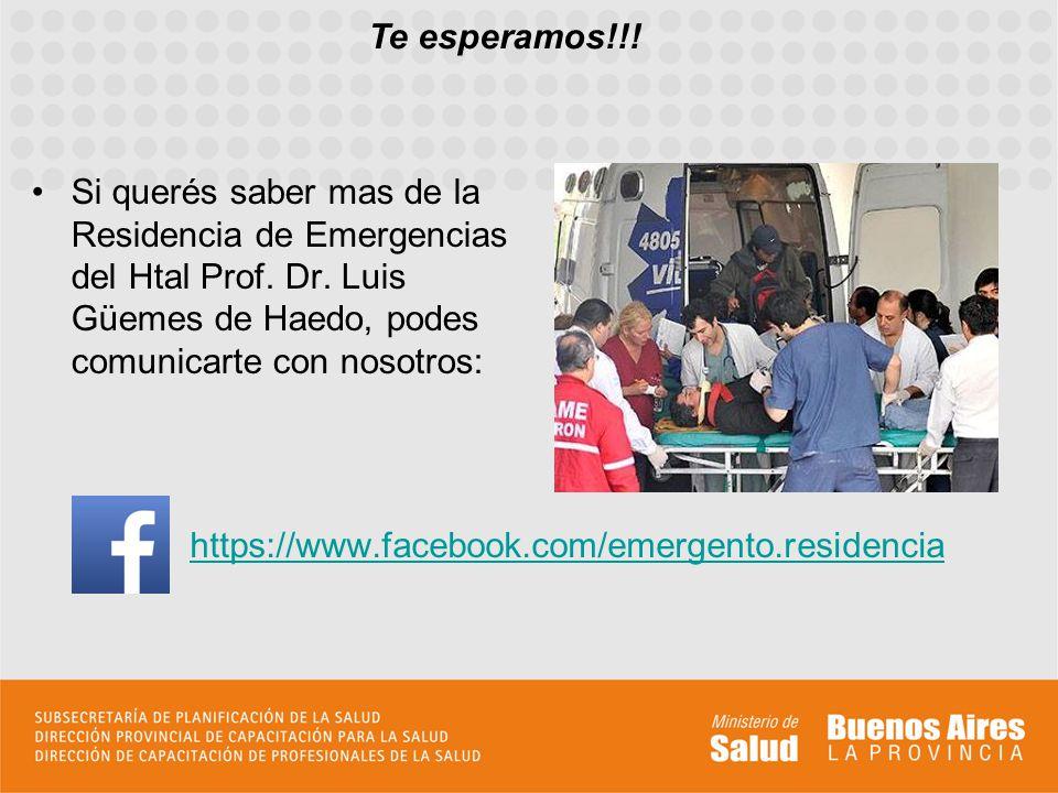 Te esperamos!!! Si querés saber mas de la Residencia de Emergencias del Htal Prof. Dr. Luis Güemes de Haedo, podes comunicarte con nosotros: