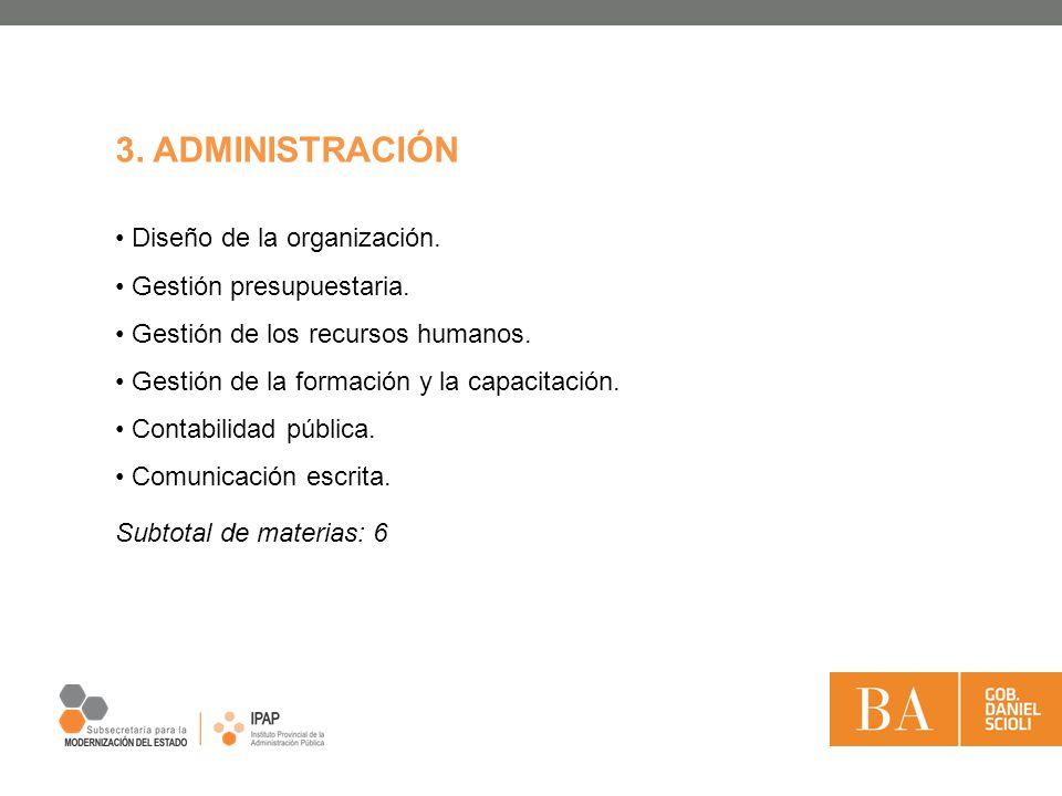 3. ADMINISTRACIÓN Diseño de la organización. Gestión presupuestaria.
