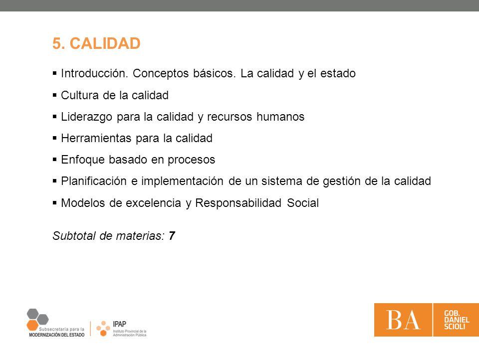 5. CALIDAD Introducción. Conceptos básicos. La calidad y el estado