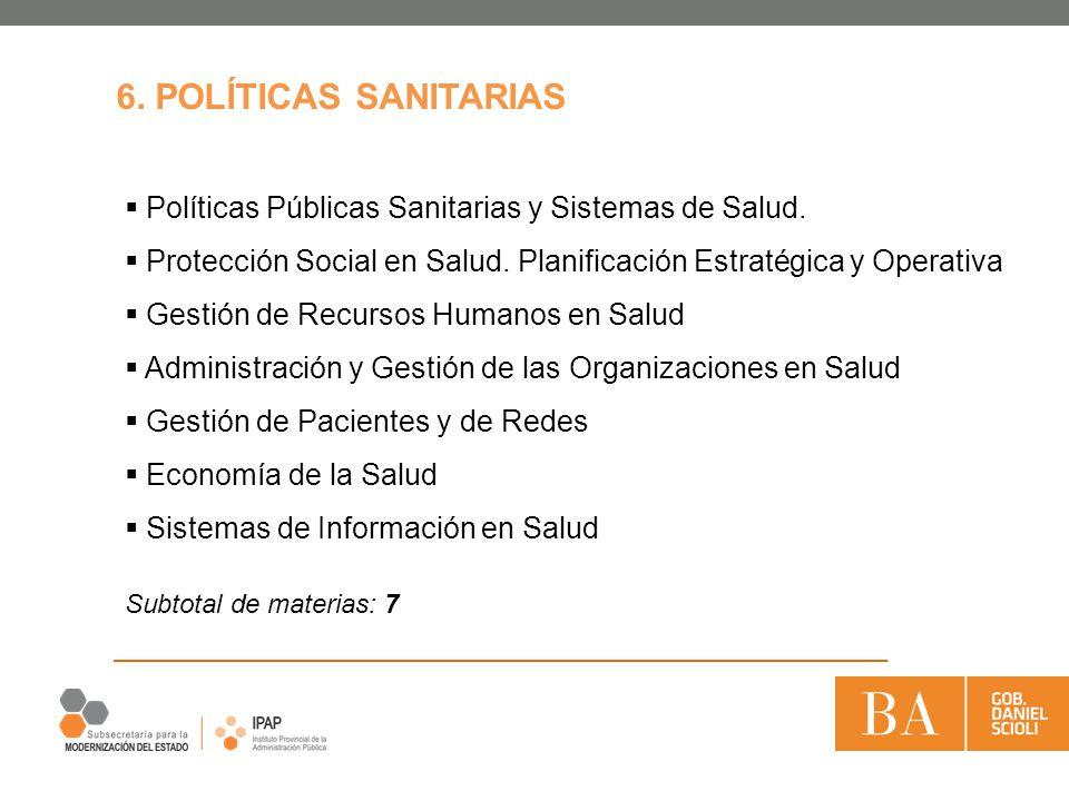 6. POLÍTICAS SANITARIAS Políticas Públicas Sanitarias y Sistemas de Salud. Protección Social en Salud. Planificación Estratégica y Operativa.