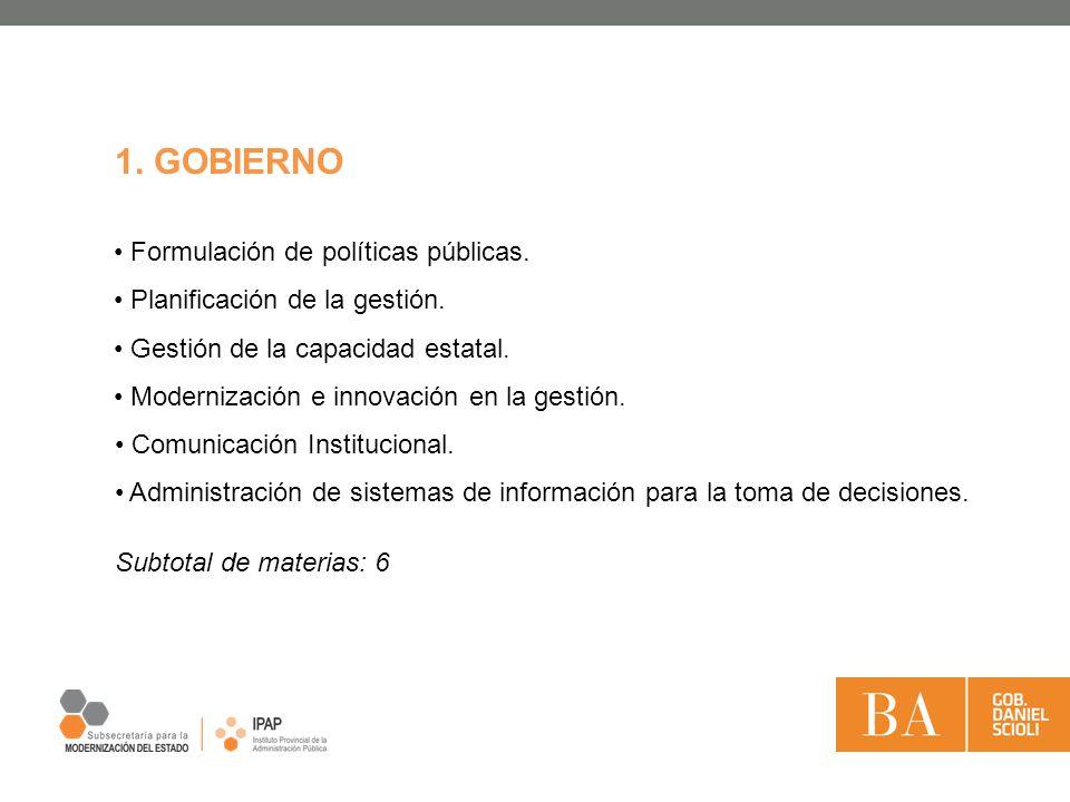 1. GOBIERNO Formulación de políticas públicas.