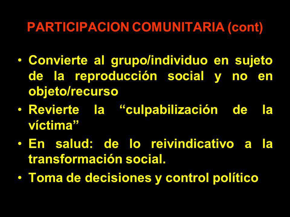 PARTICIPACION COMUNITARIA (cont)