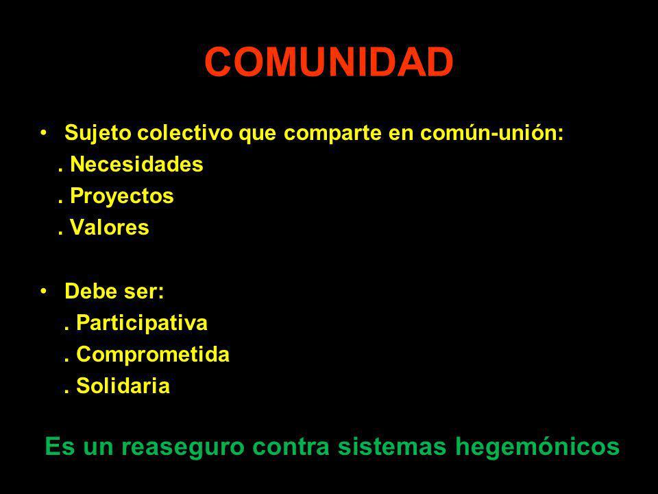 COMUNIDAD Sujeto colectivo que comparte en común-unión: . Necesidades