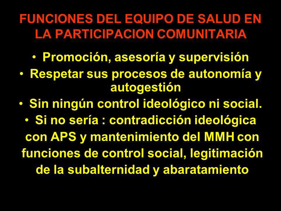 FUNCIONES DEL EQUIPO DE SALUD EN LA PARTICIPACION COMUNITARIA