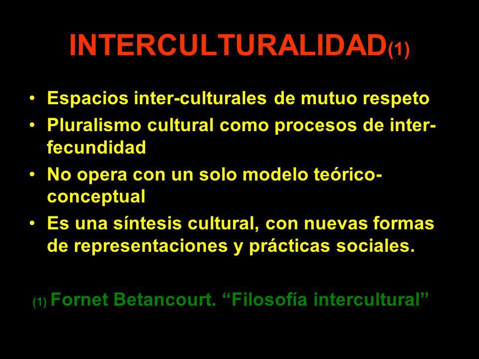 INTERCULTURALIDAD(1) Espacios inter-culturales de mutuo respeto