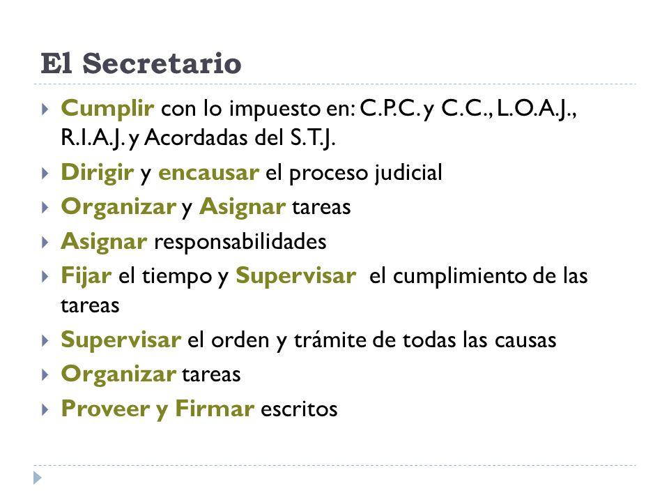 El Secretario Cumplir con lo impuesto en: C.P.C. y C.C., L.O.A.J., R.I.A.J. y Acordadas del S.T.J.