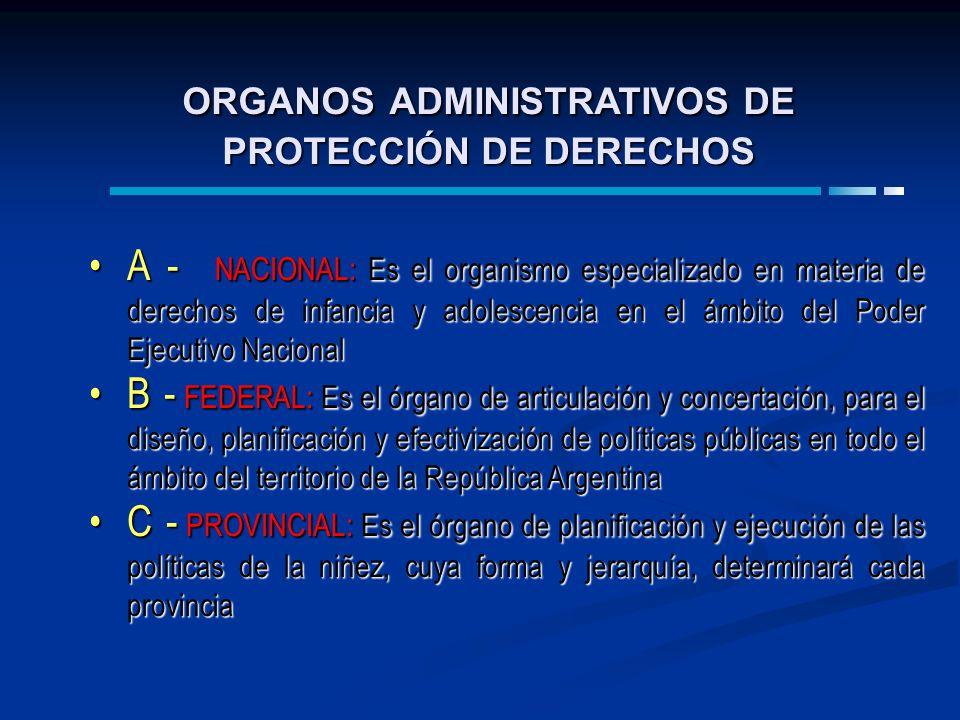 ORGANOS ADMINISTRATIVOS DE PROTECCIÓN DE DERECHOS