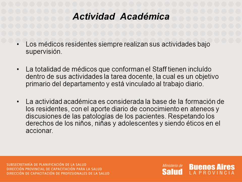 Actividad Académica Los médicos residentes siempre realizan sus actividades bajo supervisión.