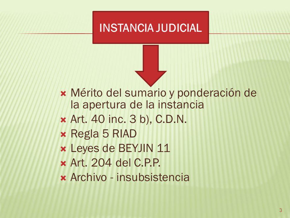 INSTANCIA JUDICIAL Mérito del sumario y ponderación de la apertura de la instancia. Art. 40 inc. 3 b), C.D.N.