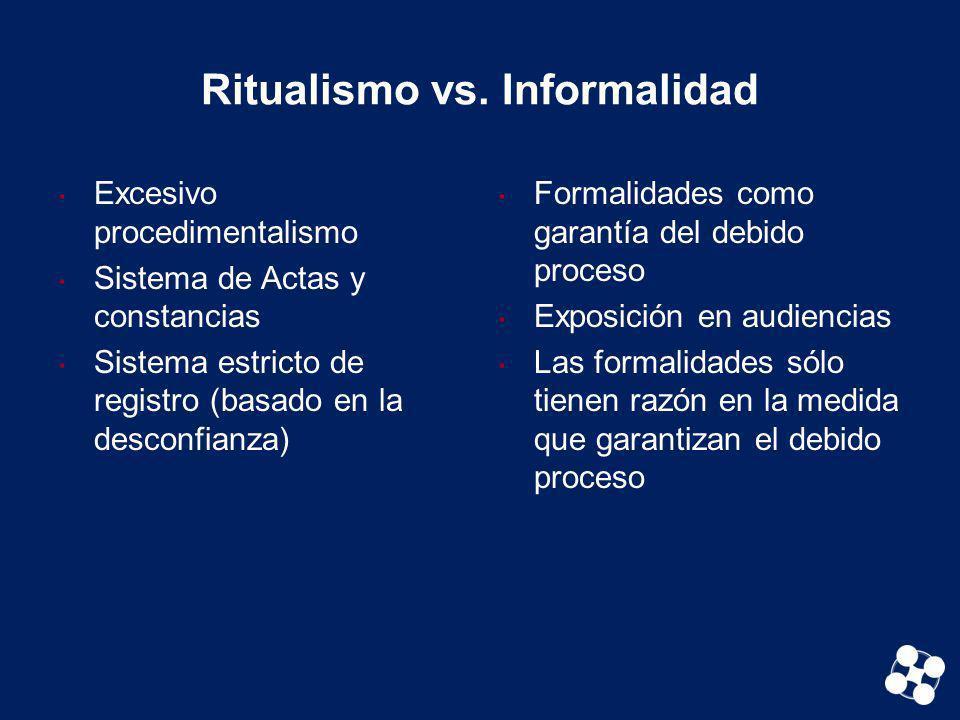 Ritualismo vs. Informalidad