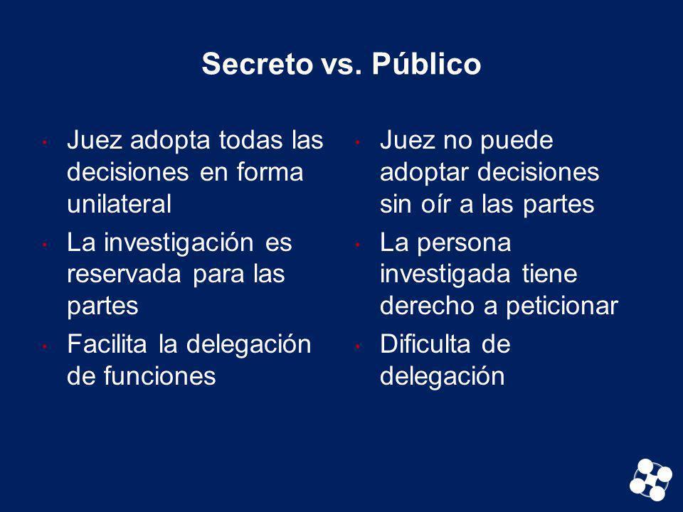 Secreto vs. Público Juez adopta todas las decisiones en forma unilateral. La investigación es reservada para las partes.
