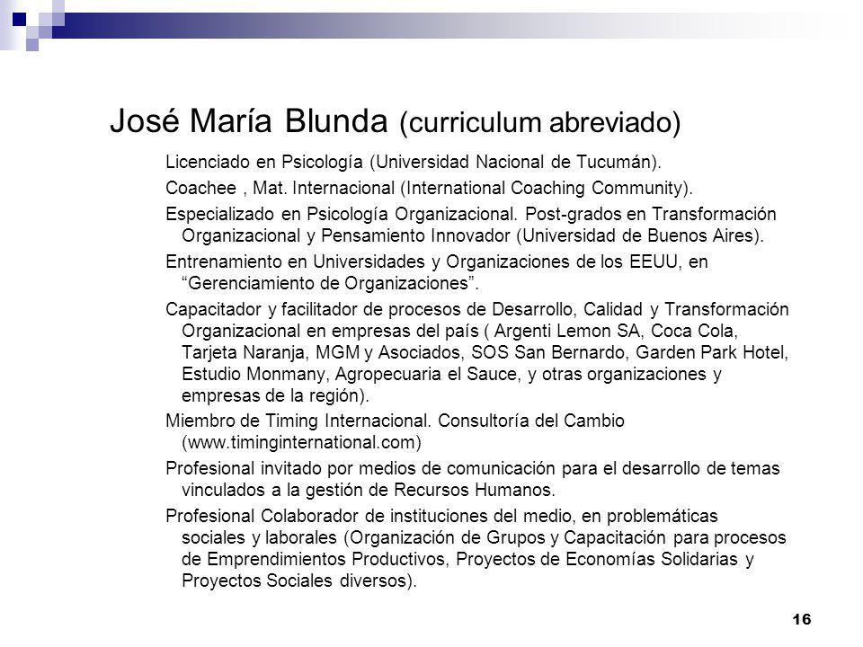 José María Blunda (curriculum abreviado)