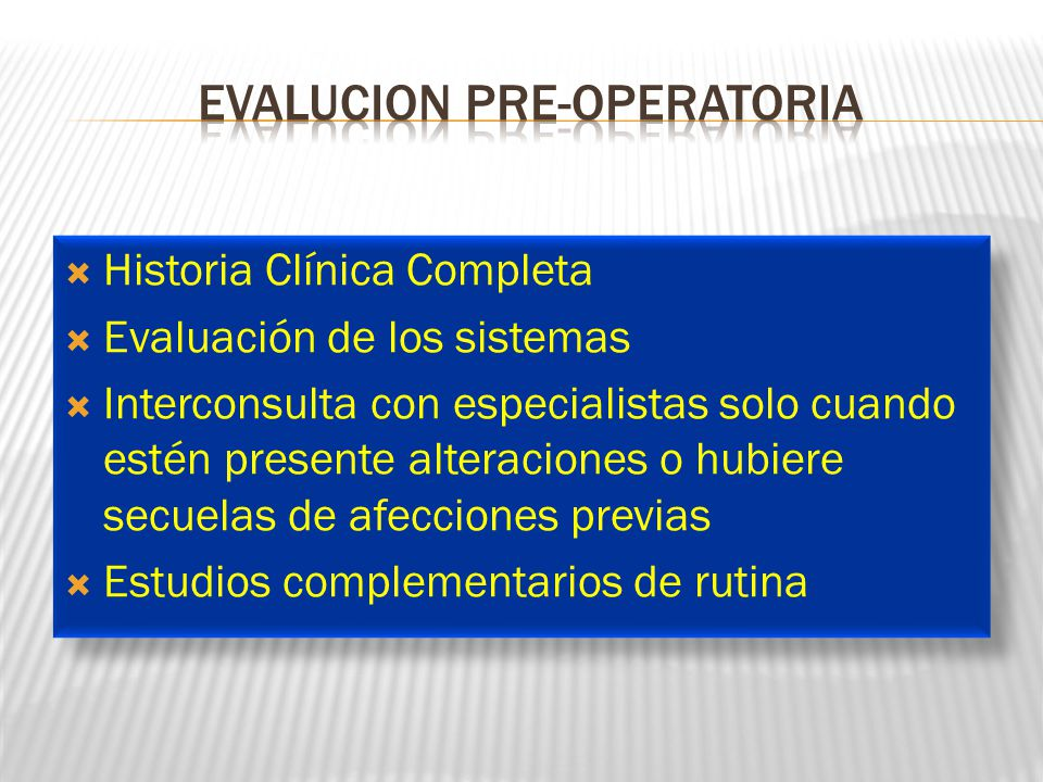 Evalucion pre-operatoria