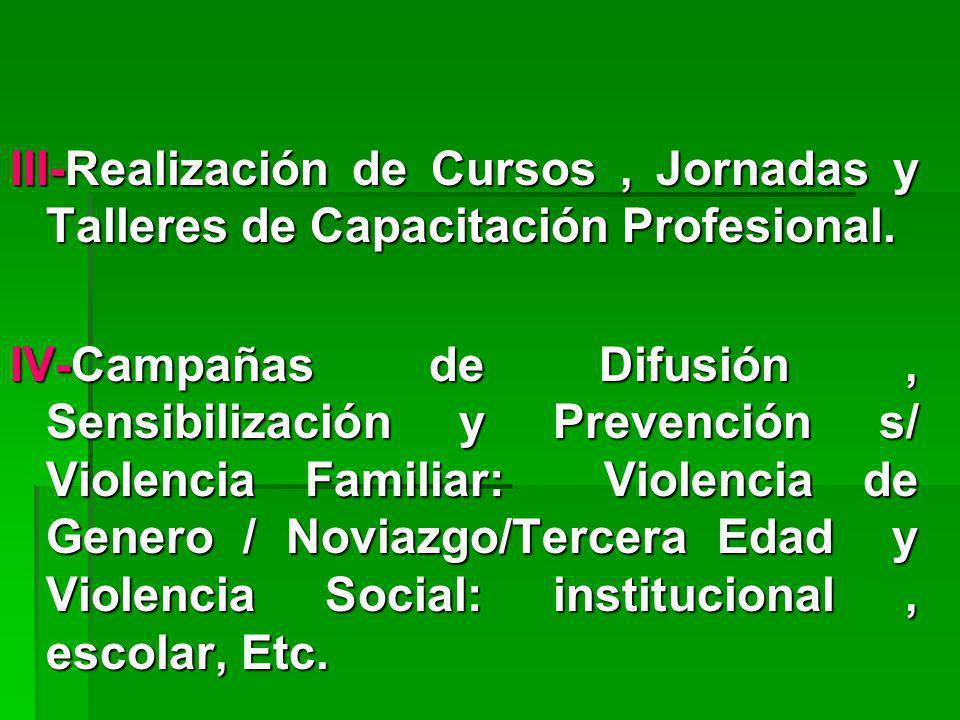 III-Realización de Cursos , Jornadas y Talleres de Capacitación Profesional.