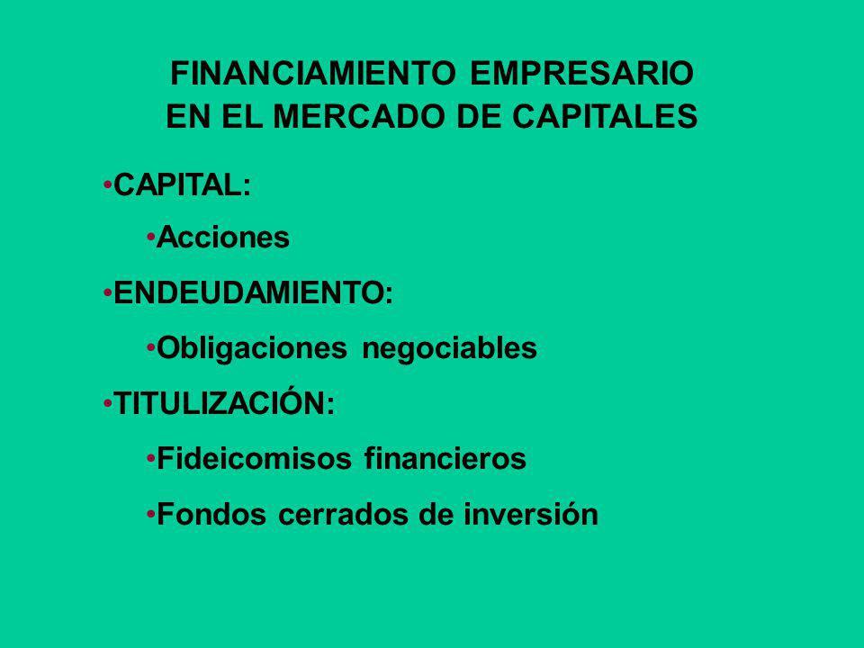 FINANCIAMIENTO EMPRESARIO EN EL MERCADO DE CAPITALES