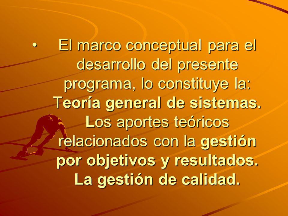 El marco conceptual para el desarrollo del presente programa, lo constituye la: Teoría general de sistemas.