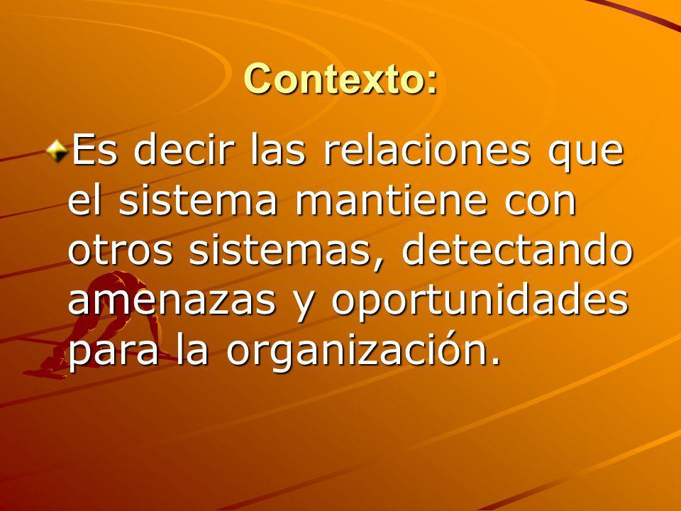 Contexto: Es decir las relaciones que el sistema mantiene con otros sistemas, detectando amenazas y oportunidades para la organización.