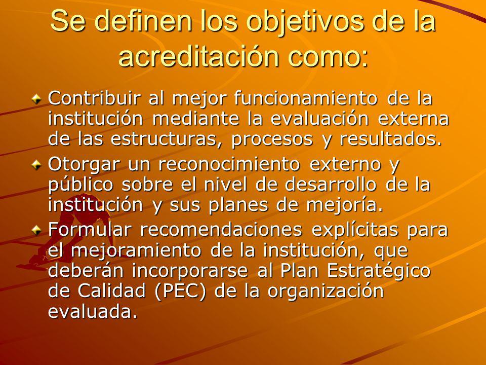 Se definen los objetivos de la acreditación como: