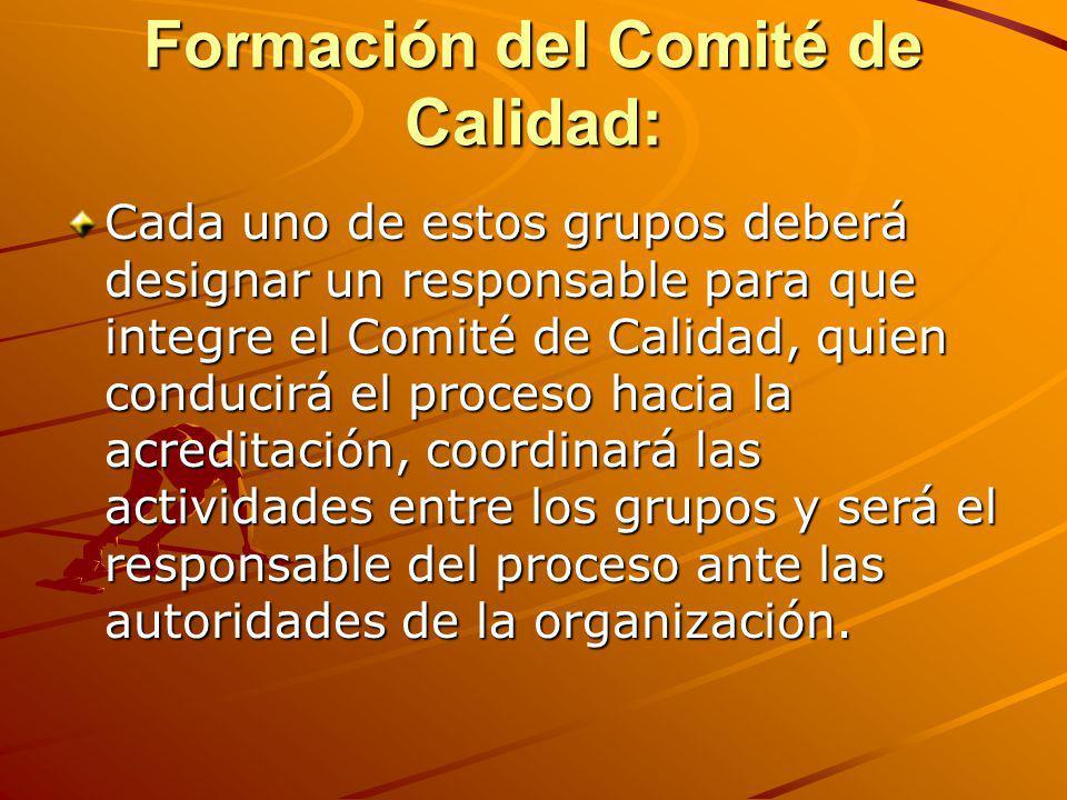 Formación del Comité de Calidad: