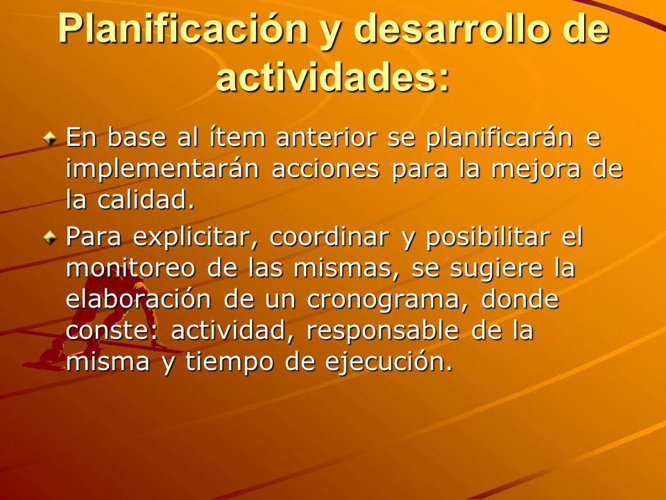 Planificación y desarrollo de actividades: