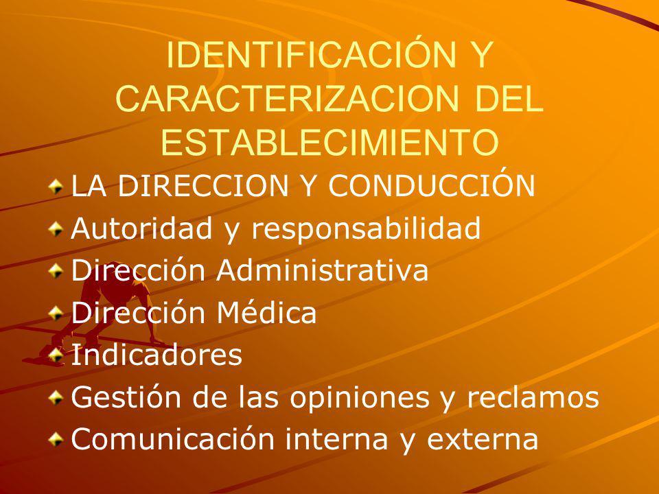 IDENTIFICACIÓN Y CARACTERIZACION DEL ESTABLECIMIENTO