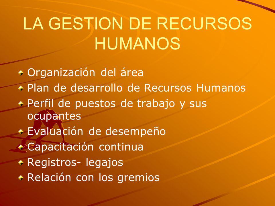 LA GESTION DE RECURSOS HUMANOS