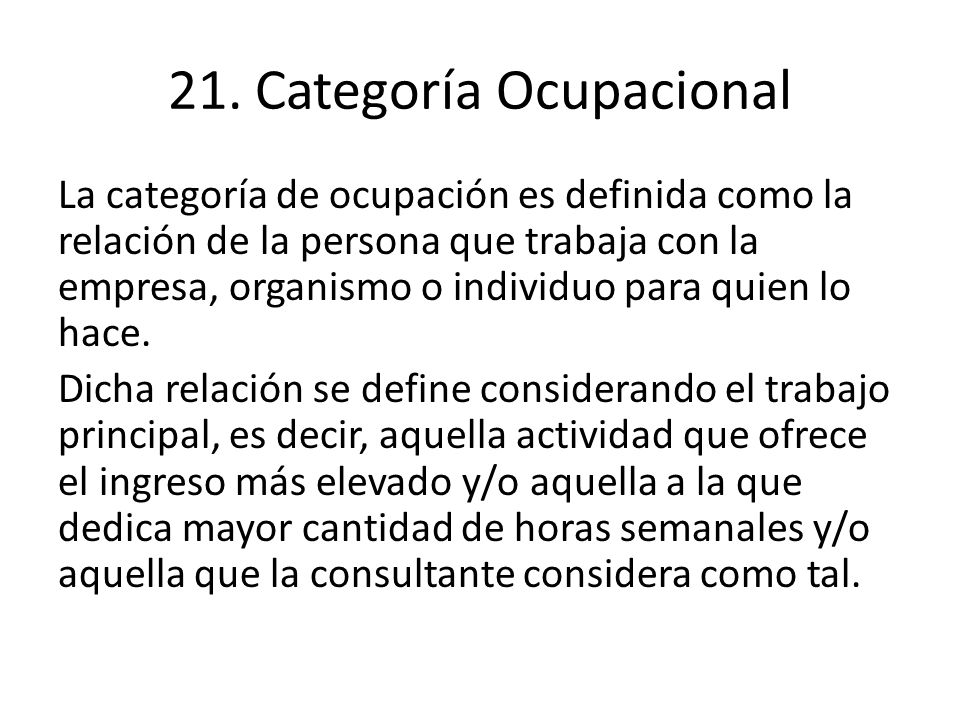 21. Categoría Ocupacional