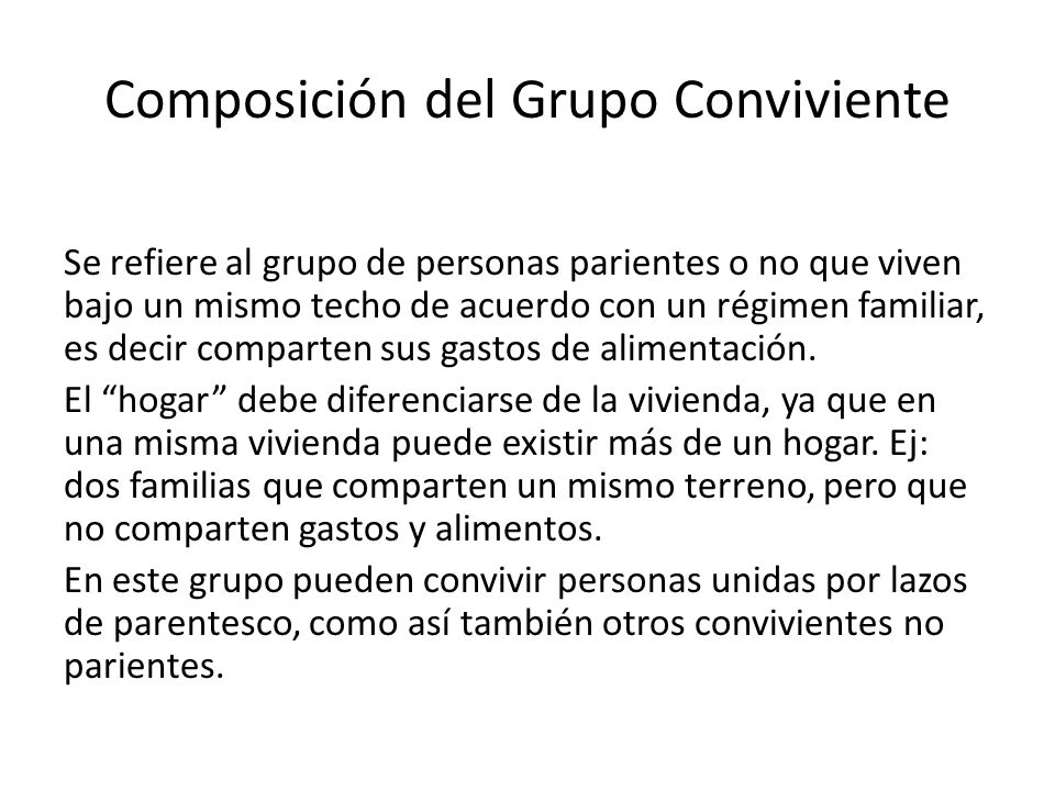 Composición del Grupo Conviviente