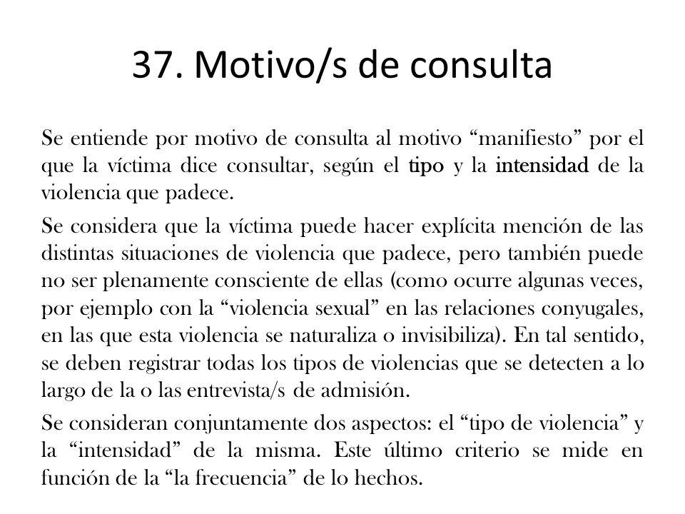 37. Motivo/s de consulta