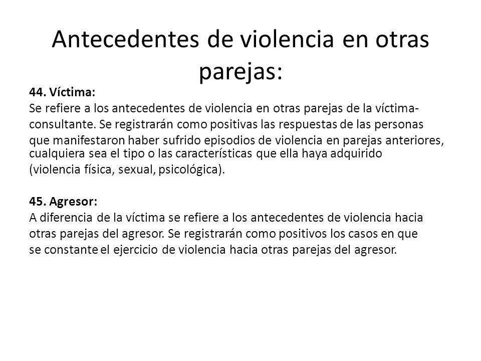 Antecedentes de violencia en otras parejas: