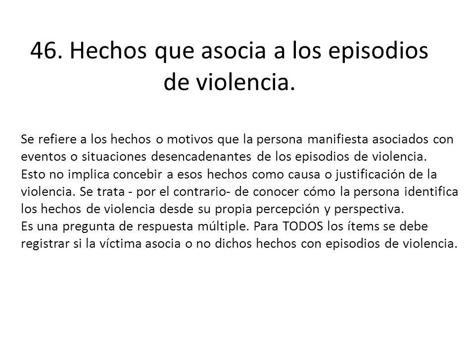 46. Hechos que asocia a los episodios de violencia.