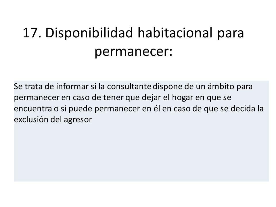 17. Disponibilidad habitacional para permanecer: