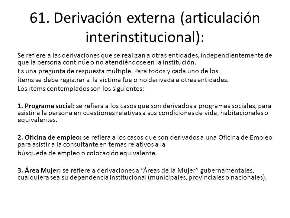 61. Derivación externa (articulación interinstitucional):