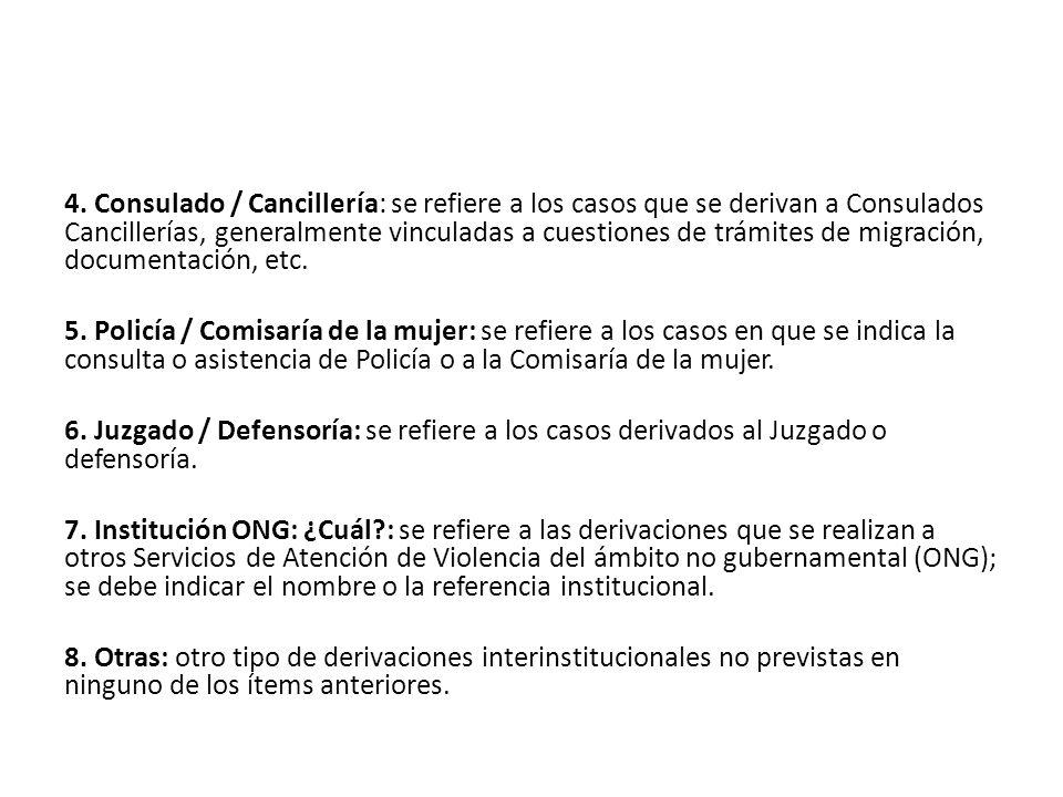 4. Consulado / Cancillería: se refiere a los casos que se derivan a Consulados Cancillerías, generalmente vinculadas a cuestiones de trámites de migración, documentación, etc.