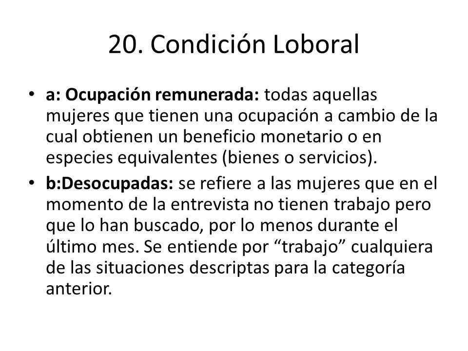 20. Condición Loboral