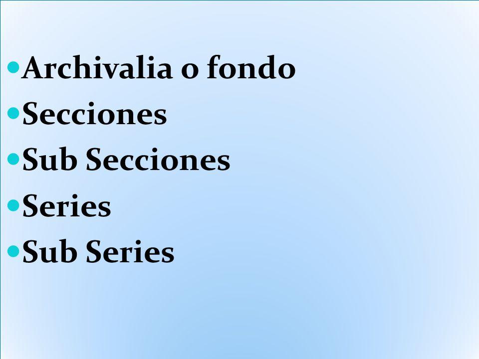 Archivalia o fondo Secciones Sub Secciones Series Sub Series